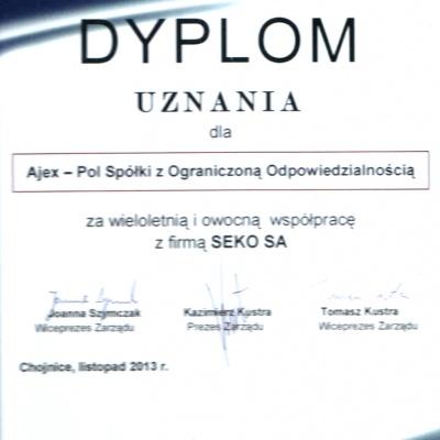 Dyplom uznania SEKO